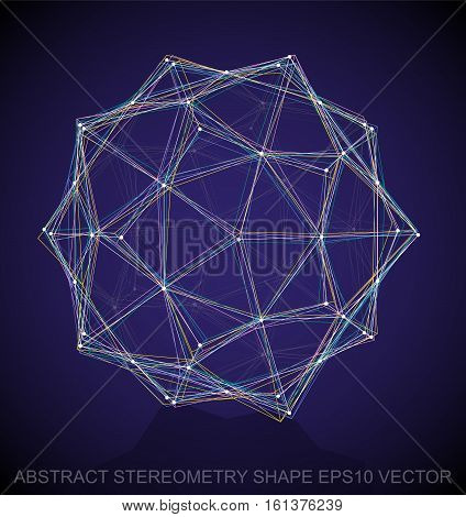 Abstract stereometry shape: Multicolor sketched Dodecahedron with Reflection. Hand drawn 3D polygonal Dodecahedron. EPS 10, vector illustration.