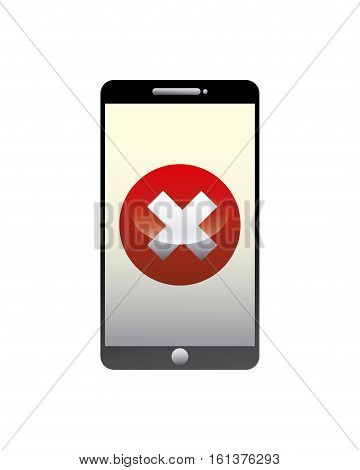 smartphone device with wrong icon on screen over white background. cyber security concept. colorful design. vector illustration