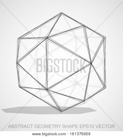Abstract stereometry shape: Ink sketched Octahedron with Transparent Shadow. Hand drawn 3D polygonal Octahedron. EPS 10, vector illustration.