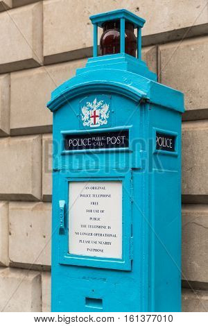 Old Police Public Call Post in the City of London - not in use