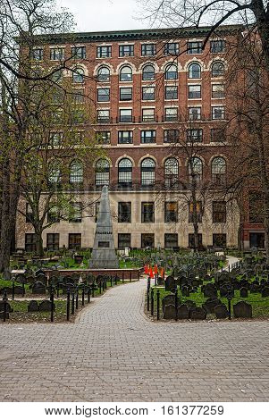 Boston, USA - April 27, 2015: Granary Burying Ground in Tremont Street of downtown Boston Massachusetts the United States.