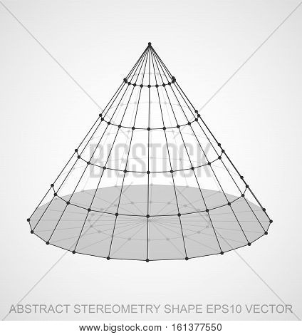 Abstract geometry shape: Black sketched Cone with Transparent Shadow. Hand drawn 3D polygonal Cone. EPS 10, vector illustration.