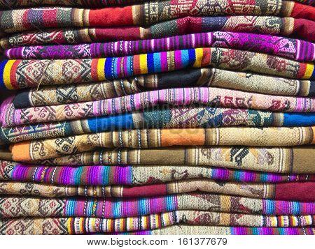 Andean Blankets In A Market, La Paz, Bolivia.