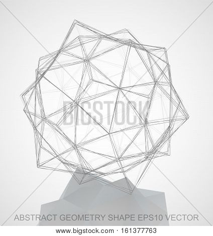 Abstract geometry shape: Pencil sketched Dodecahedron with Reflection. Hand drawn 3D polygonal Dodecahedron. EPS 10, vector illustration.