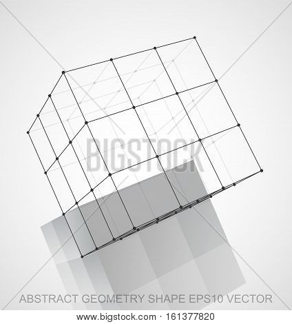 Abstract stereometry shape: Black sketched Cube with Reflection. Hand drawn 3D polygonal Cube. EPS 10, vector illustration.