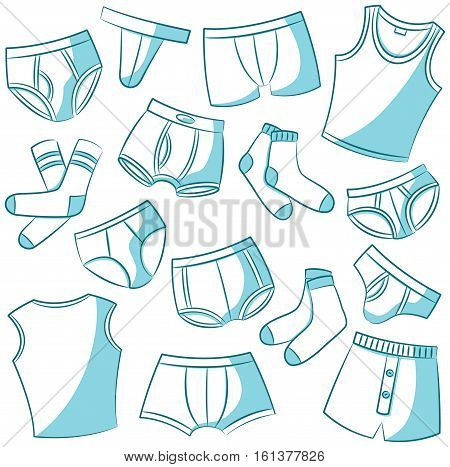Doodle set with men's underwears. Casual underclothes for boys cartoon icons collection.