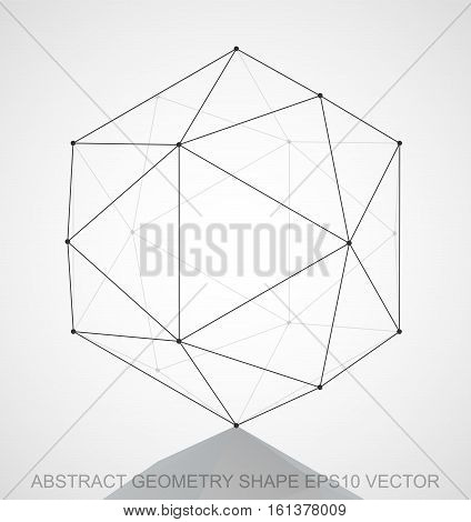 Abstract geometry shape: Black sketched Octahedron with Reflection. Hand drawn 3D polygonal Octahedron. EPS 10, vector illustration.
