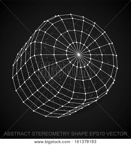 Abstract stereometry shape: White sketched Cylinder with Transparent Shadow. Hand drawn 3D polygonal Cylinder. EPS 10, vector illustration.