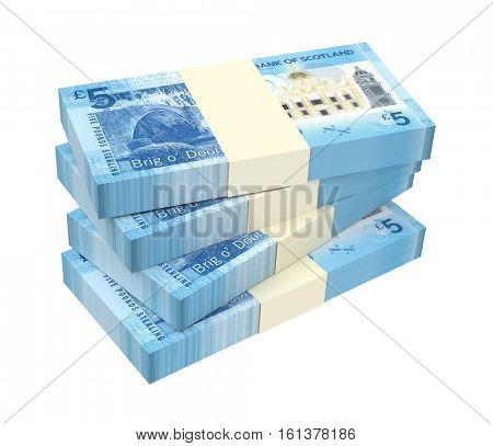 Scotland money isolated on white background. 3D illustration.