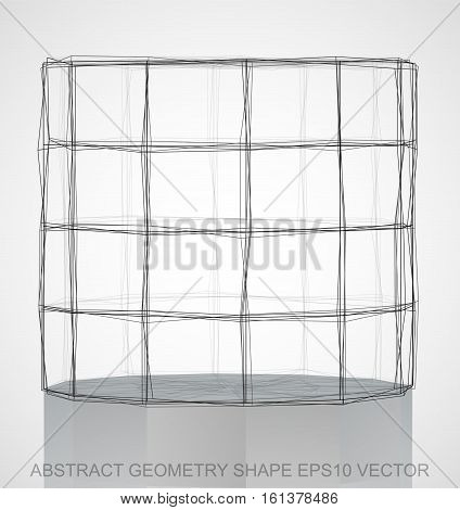 Abstract stereometry shape: Ink sketched Cylinder with Reflection. Hand drawn 3D polygonal Cylinder. EPS 10, vector illustration.