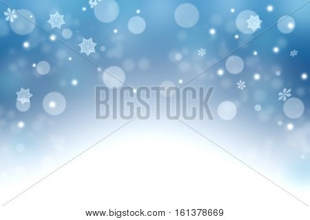 Blue winter background with snowflakes and bokeh. Deep blue sky and snow. Fairy tale. New Year. Card.