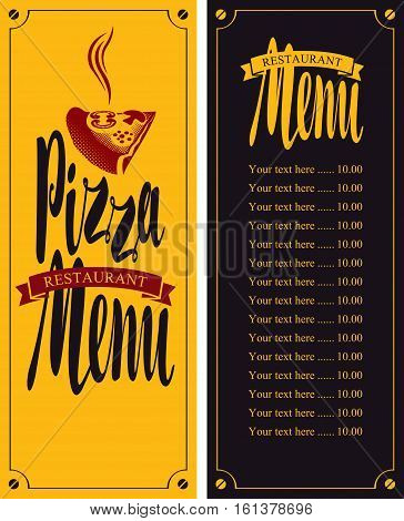 vector menu for pizzeria with a slice of pizza and price