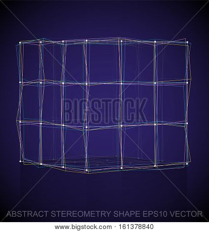 Abstract stereometry shape: Multicolor sketched Cube with Reflection. Hand drawn 3D polygonal Cube. EPS 10, vector illustration.