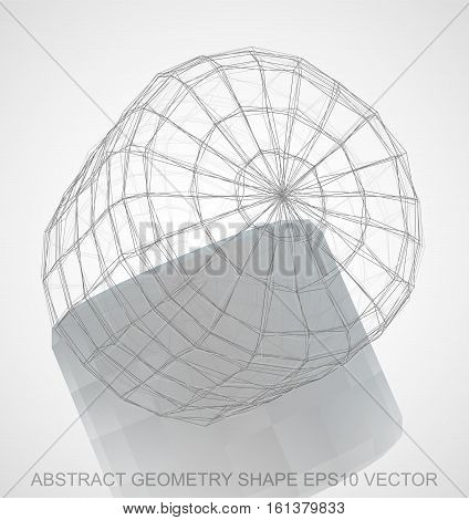 Abstract stereometry shape: Pencil sketched Cylinder with Reflection. Hand drawn 3D polygonal Cylinder. EPS 10, vector illustration.
