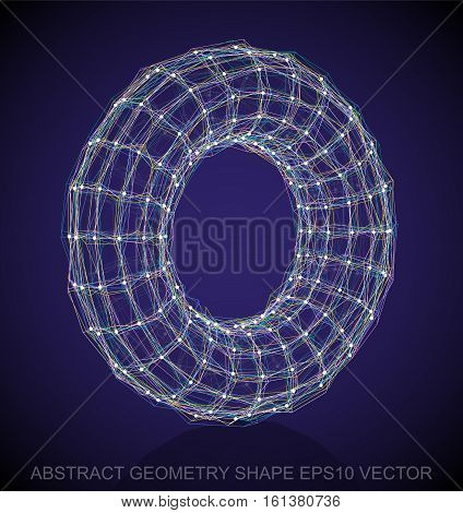 Abstract stereometry shape: Multicolor sketched Torus with Reflection. Hand drawn 3D polygonal Torus. EPS 10, vector illustration.