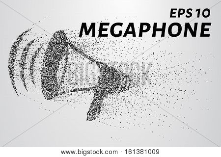 The Megaphone Of The Particles. Megaphone Consists Of Circles And Points. Vector Illustration