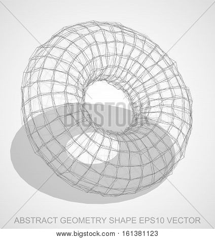 Abstract geometry shape: Pencil sketched Torus with Transparent Shadow. Hand drawn 3D polygonal Torus. EPS 10, vector illustration.