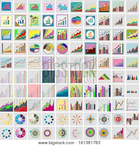 Set of flat icons instrument charts and graphs financial business graph reports statistical information analysis tools. Infographic vector illustration.