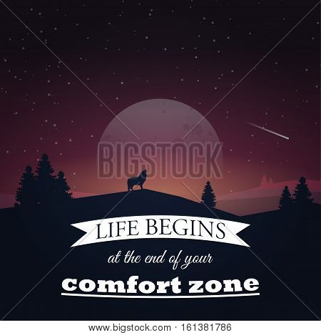 Life begins at the end of your comfort zone. Motivational poster with nature background