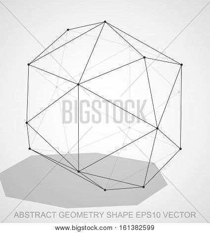 Abstract stereometry shape: Black sketched Octahedron with Transparent Shadow. Hand drawn 3D polygonal Octahedron. EPS 10, vector illustration.