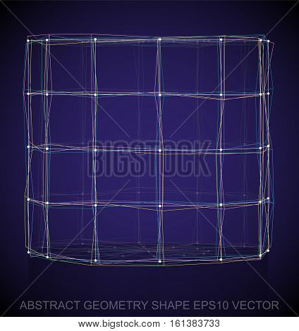 Abstract stereometry shape: Multicolor sketched Cylinder with Reflection. Hand drawn 3D polygonal Cylinder. EPS 10, vector illustration.