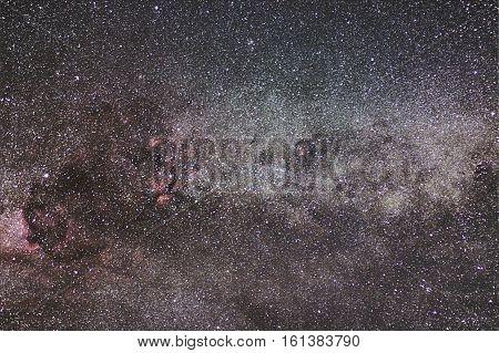 Milky Way And Cygnus Constellation. Northern Cross. Starry Night.