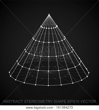 Abstract geometry shape: White sketched Cone with Reflection. Hand drawn 3D polygonal Cone. EPS 10, vector illustration.
