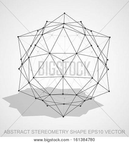 Abstract geometry shape: Black sketched Dodecahedron with Transparent Shadow. Hand drawn 3D polygonal Dodecahedron. EPS 10, vector illustration.