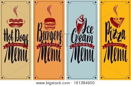 vector cover menu for fast food restaurant with hot dog burger pizza and ice cream