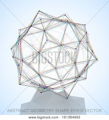 Abstract geometry shape: Multicolor sketched Dodecahedron with Reflection. Hand drawn 3D polygonal Dodecahedron. EPS 10, vector illustration.