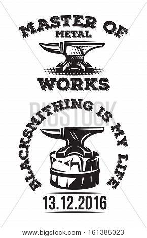 Set of vintage blacksmith labels with anvil. Vector illustration.