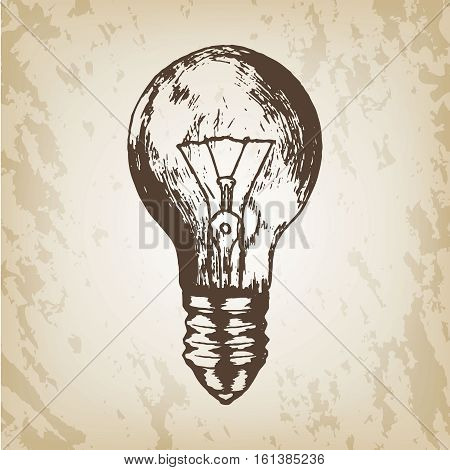 Hand drawn vector illustration - realistic light bulb sketch. Brown paper grunge background.