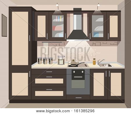 Vector brown kitchen interior card flat isometry illustration. Mastel shades