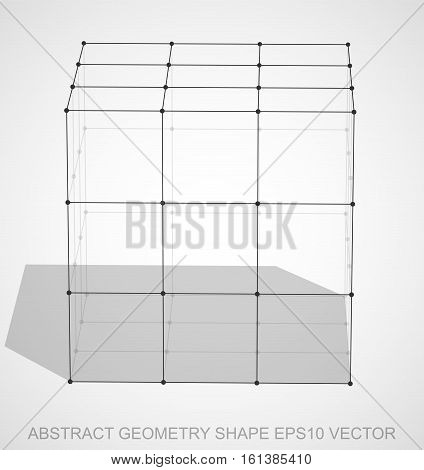 Abstract geometry shape: Black sketched Cube with Transparent Shadow. Hand drawn 3D polygonal Cube. EPS 10, vector illustration.