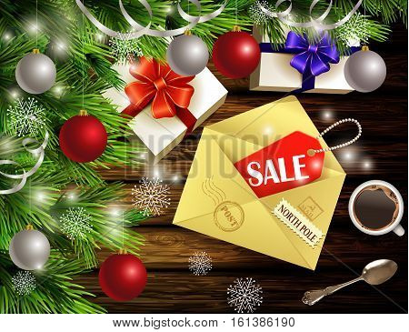 Boxing Day design light wooden background with christmas tree and silver and red balls and envelope with sale tag coffee teaspoon gift boxes