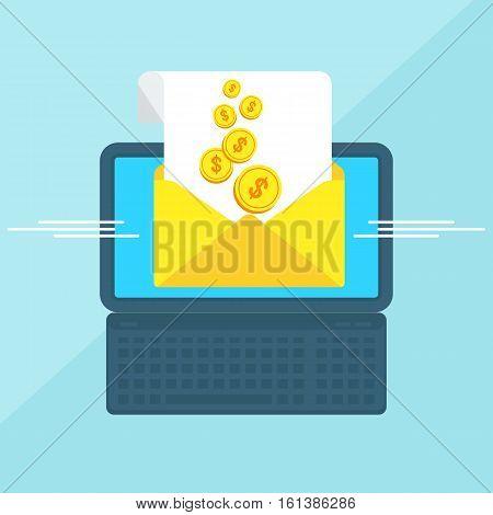Laptop With Envelope Money