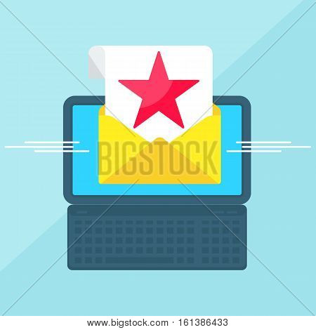Laptop With Envelope Red Star