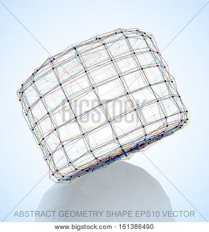 Abstract geometry shape: Multicolor sketched Cylinder with Reflection. Hand drawn 3D polygonal Cylinder. EPS 10, vector illustration.