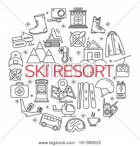 Ski resort design template poster. Ski resort outline vector of Ski and Snowboard icons. Elements Ski resort.
