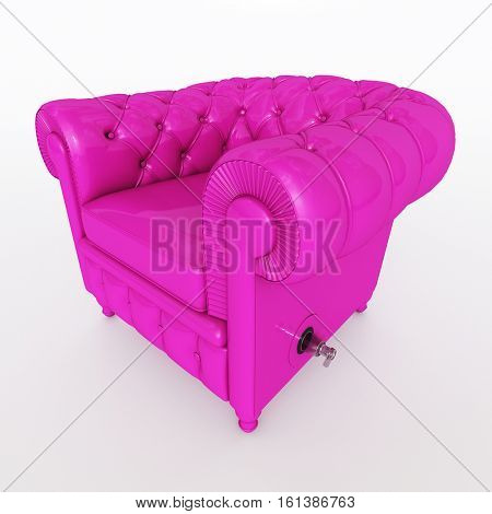 3D rendering of a classical club armchair in fuchsia pink with an inflation valve