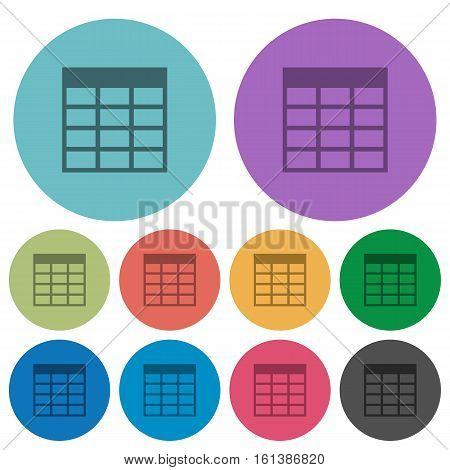Spreadsheet table flat icons on color round background