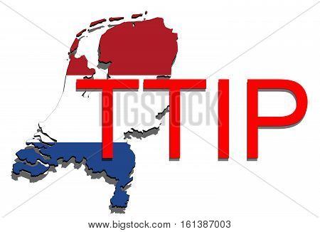 Ttip - Transatlantic Trade And Investment Partnership On Holland Map