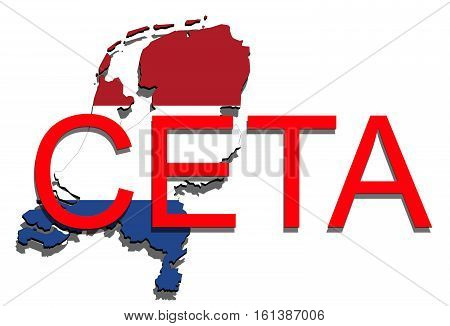 Ceta - Comprehensive Economic And Trade Agreement On White Background, Holland Map