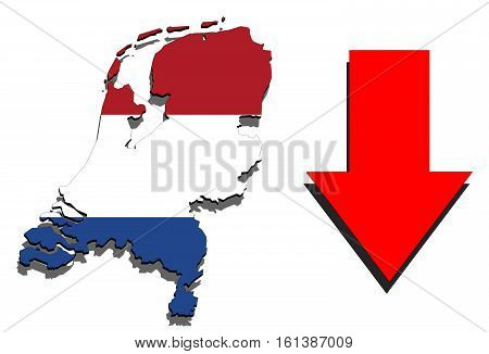 Holland Map On White Background And Red Arrow Down