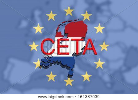 Ceta - Comprehensive Economic And Trade Agreement On Euro Union Background, Holland Map
