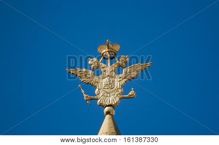 The russian national symbol, a two headed golden eagle, Moscow, Russia