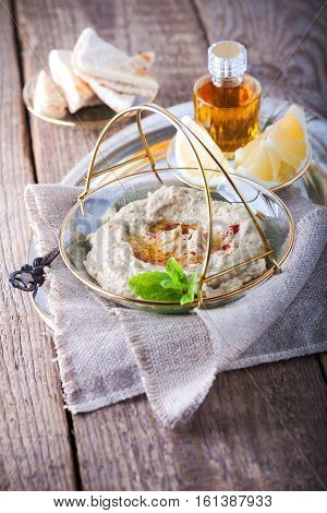 Baba ghanoush, eggplant dip mediterranean food on the napkin