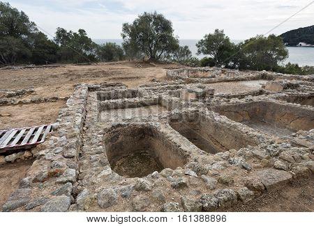 View of the ruins of a 1st century AD Roman fish salting plant near the Creiro beach in Arrabida Mountain Portugal