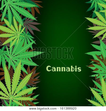 Cannabis text on hemp marijuana background. Green smoke hashish narcotic