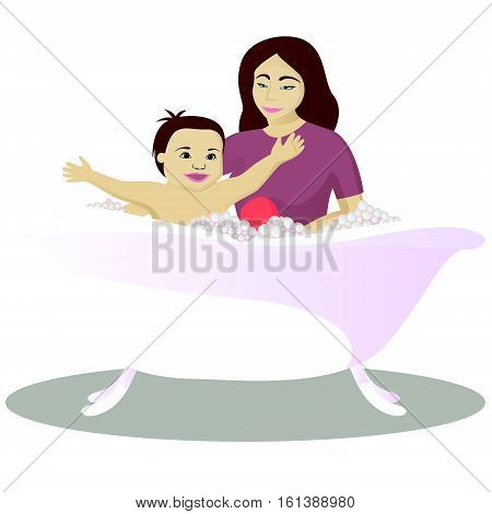 Mother washes smiling child isolated on white vector illustration